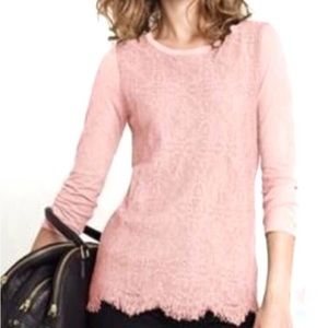 J Crew Crochet Lace Front knit top Peach Pink